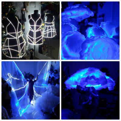 Светящиеся костюмы, облака, крылья в аренду для шоу
